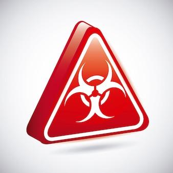 Signes de biohazard sur illustration vectorielle fond gris