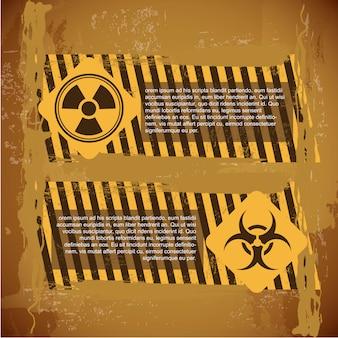 Signes de biohazard sur illustration vectorielle fond vintage