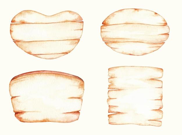 Signes de bois rustique mis illustration aquarelle