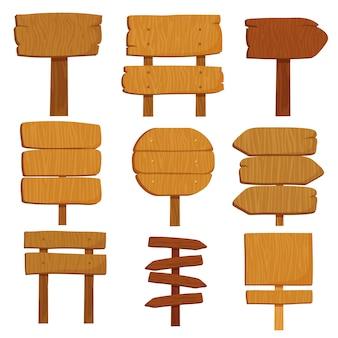 Signes en bois vides de dessin animé. vieux bois panneau isolé jeu de vector