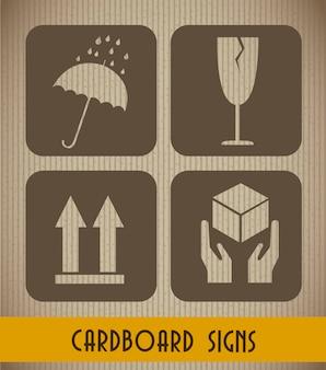 Signes en carton fond illustration vectorielle de style vintage