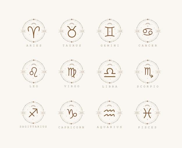 Signes du zodiaque dans un style bohème
