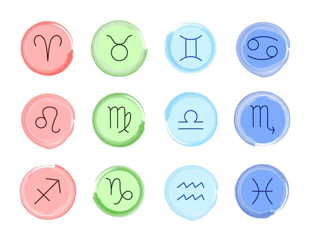 Signes du zodiaque. ensemble de vecteurs. symboles du zodiaque en quatre couleurs. éléments astrologiques isolés