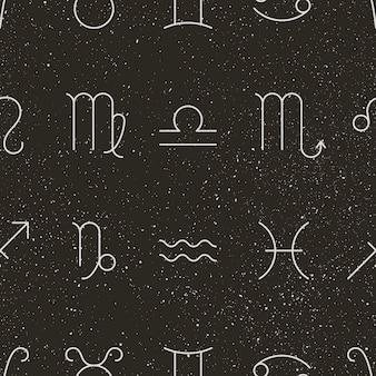Signes du zodiaque et modèle sans couture d'étoiles. fond noir vectoriel des symboles de l'horoscope - bélier, taureau, gémeaux, cancer, lion, vierge, balance, scorpion, sagittaire, capricorne verseau et poissons