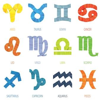 Signes du zodiaque polygone géométrique couleur et icônes vector illustration
