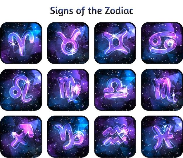 Signes du zodiaque sur sombre