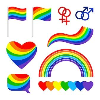 Signes de fierté. fier couple lgbt droits symboles, défilé homosexuel arc-en-ciel et drapeau du festival et icônes isolés