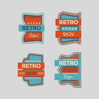 Signes rétro et collection colorée d'enseignes au néon vintage