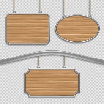 Signes suspendus en bois vides isolés. jeu de bannières en bois, illustration du cadre de panneau en bois