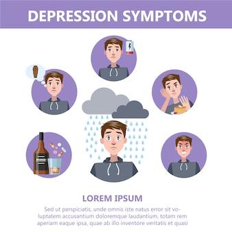 Signes et symptômes de dépression. infographie pour les personnes