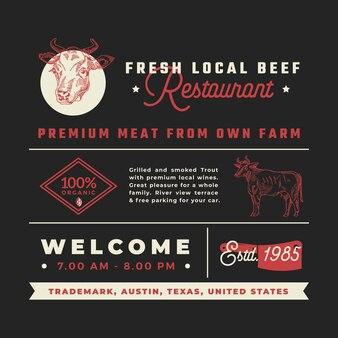Signes, titres, inscriptions et éléments de décoration de menu pour le restaurant de boeuf local frais.