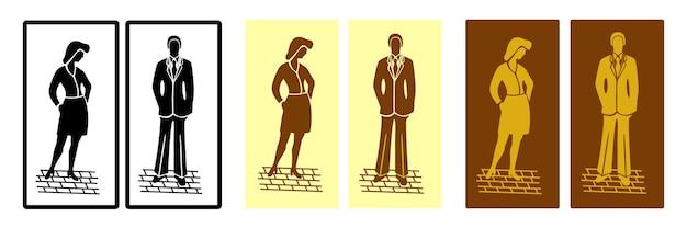 Signes de toilettes vectoriels vintage avec des silhouettes d'hommes et de femmes faites dans différentes options de couleur