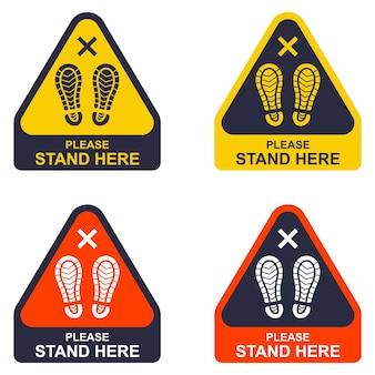Signez dans le triangle s'il vous plaît gardez vos distances. reste ici. illustration vectorielle plane.