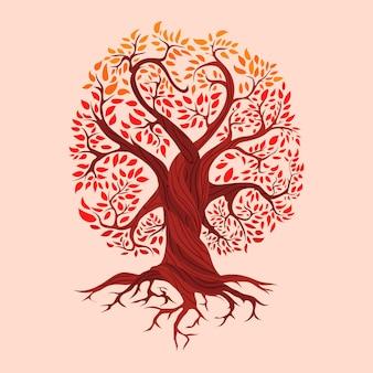 Signification de la vie de l'arbre dessiné à la main