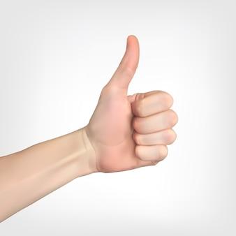 Silhouette 3d réaliste de la main avec le pouce levé