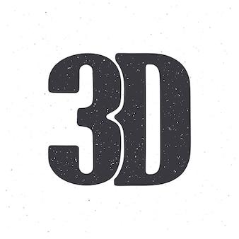 Silhouette d'abréviation 3d pour film en trois dimensions illustration vectorielle icône de style de lettrage