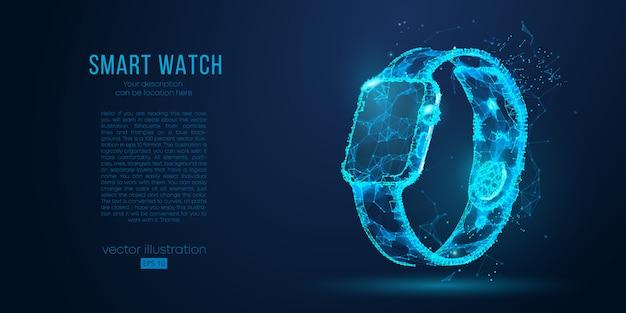 Silhouette abstraite d'une horloge intelligente de particules, lignes et triangles sur fond bleu. les éléments d'une couleur de calque séparée peuvent être changés en un autre en un seul clic.