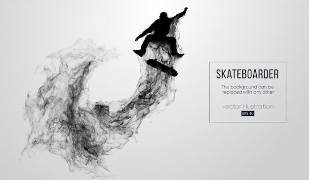 Silhouette abstraite d'un skateur sur fond blanc