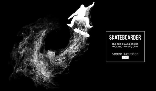 Silhouette abstraite d'un skateur sur le fond noir foncé