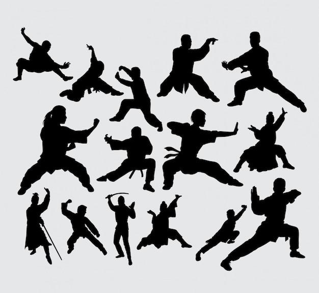 Silhouette d'action d'art martial et de kungfu