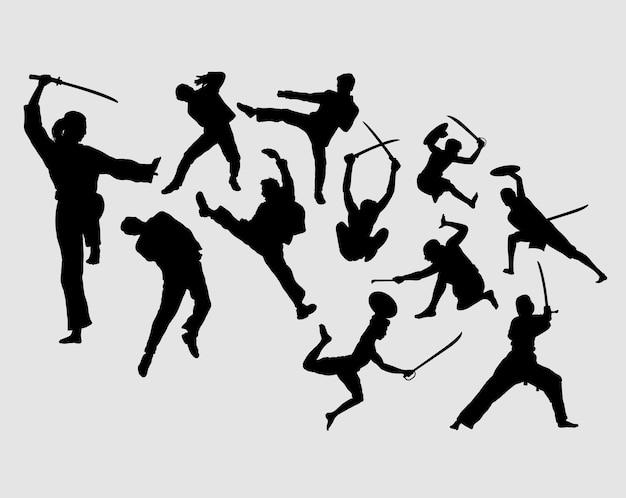 Silhouette d'action masculine et féminine d'art martial