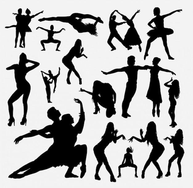 Silhouette d'action masculine et féminine de danseur