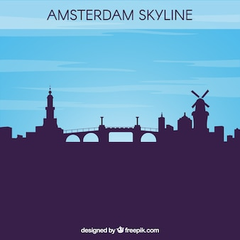 Silhouette amsterdam skyline fond