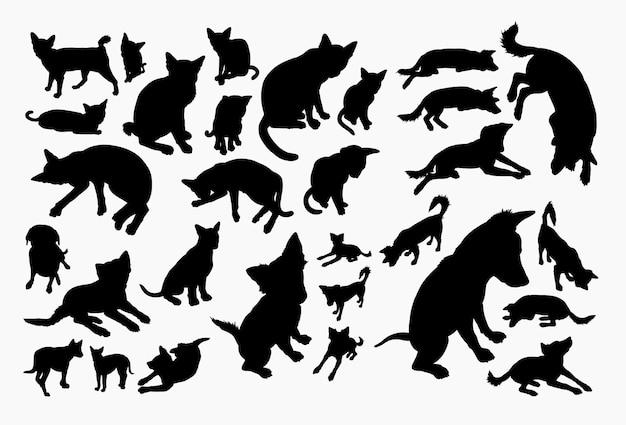 Silhouette d'animal chat et chien