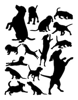 Silhouette Animal Chien Beagle Vecteur Premium