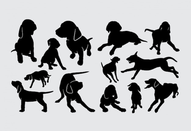 Silhouette animale de mammifère d'animal familier de chien de vizsla