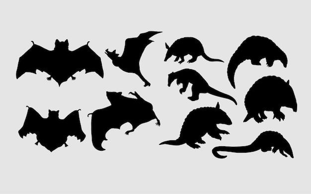 Silhouette animalière chauve-souris et fourmilier