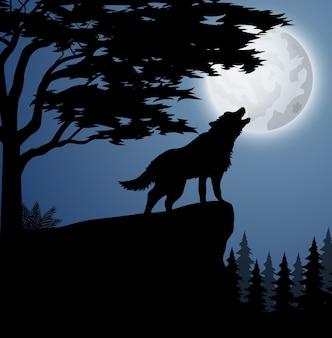 Silhouette d'animaux dans la forêt de nuit