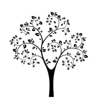 Silhouette d'arbre noir isolé