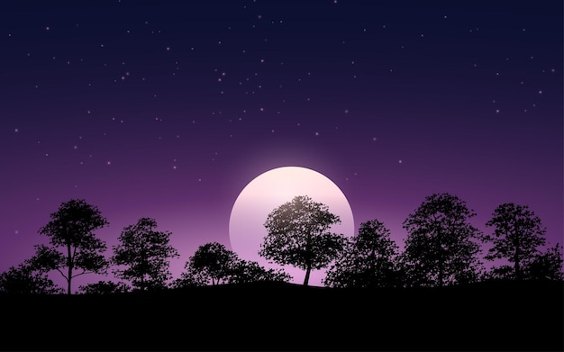 Silhouette d'arbres et fond de clair de lune