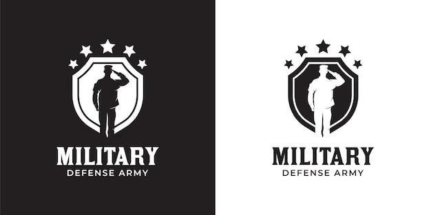 Silhouette de l'armée de capitaine respectueuse du lieutenant militaire de la marine britannique avec un bouclier et un logo en étoile