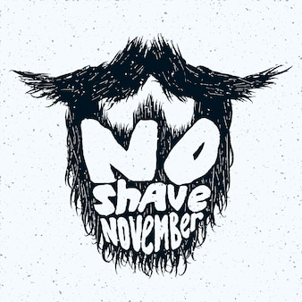 Silhouette de barbe avec impression de lettrage no shave november