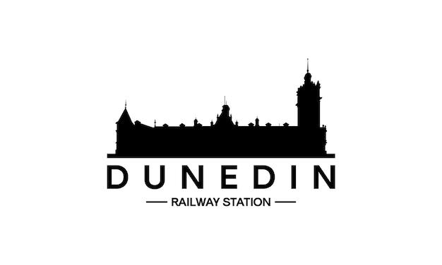 Silhouette de bâtiment de la gare de dunedin