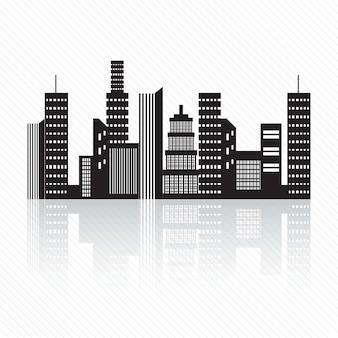 Silhouette de bâtiments sur fond blanc illustration vectorielle
