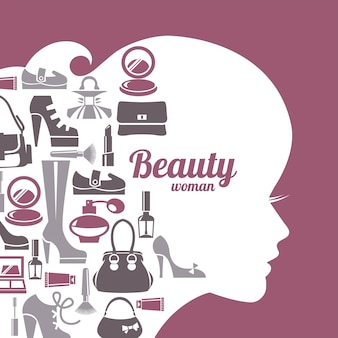 Silhouette de belle femme de mode. jeu d'icônes de magasinage