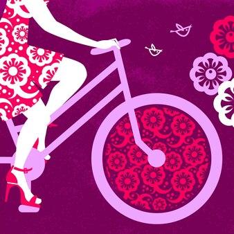 Silhouette de belle fille à vélo
