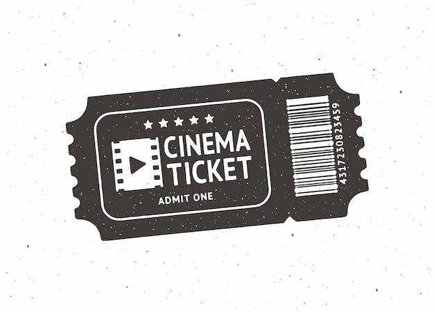 Silhouette d'un billet de cinéma avec code-barres vector illustration