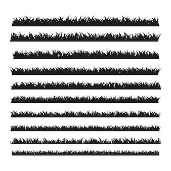 Silhouette de bordure d'herbe noire pour la décoration de cimetière fantôme d'halloween.
