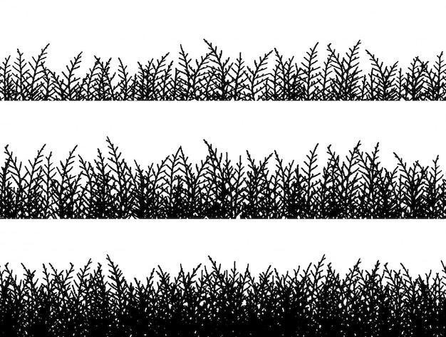 Silhouette de bordures d'herbe sur le vecteur de fond blanc