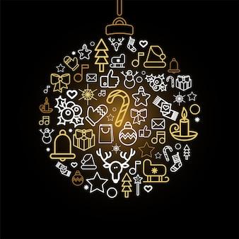Silhouette de boule avec des icônes linéaires de vacances de noël. boule de noël avec des décorations festives isolées
