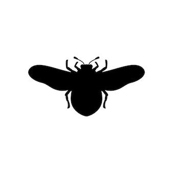 Silhouette de bourdon dans un style simple et tendance. contour vectoriel emblème d'insecte avec des ailes pour créer des logos de salons de beauté, manucures, massages, spas, bijoux, tatouages et artistes faits à la main.