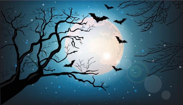 Silhouette de branches d'arbres et chauves-souris