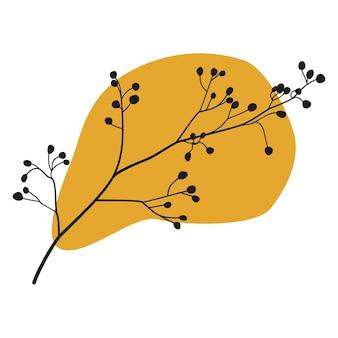 Silhouette de branches d'arbres avec une forme jaune abstraite. conception d'art végétal pour l'art mural boho botanique. illustration vectorielle.