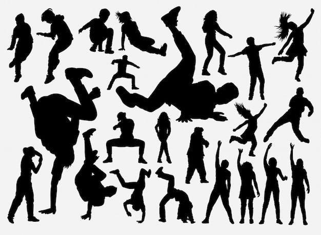 Silhouette de breakdance et hiphop