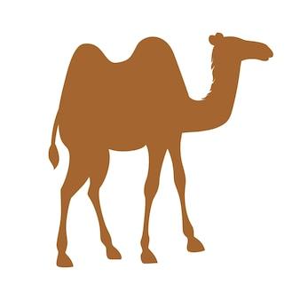 Silhouette brune deux bosse chameau dessin animé animal design plat vector illustration isolé sur fond blanc.