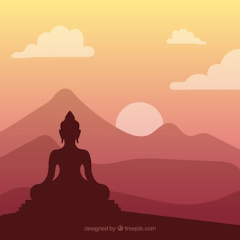 Silhouette de budha traditionnel